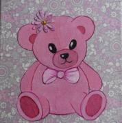 tableau ourson peluche enfant : ourson rose