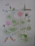 tableau paysages paysage aquarelle fleur : lotus