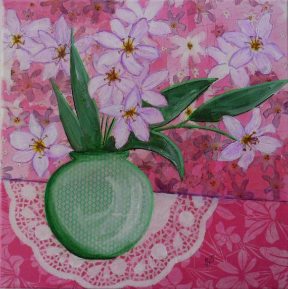 TABLEAU PEINTURE rose fleurs technique mixte acrylique Fleurs Acrylique  - Liliaceae