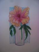 tableau fleurs fleurs paysage aquarelle : pivoine