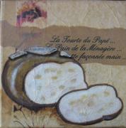 tableau nature morte pain gourmandise acrylique : le pain de la ménagère