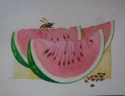 tableau fruits aquarelle legumes botanique vegetal : la guêpe