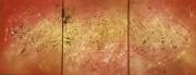 tableau abstrait triptyque tableau rouge or corinne haquin toile triptyque : TRIPTYQUE