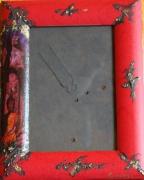 bois marqueterie personnages orient cadre photo rouge meditation : CADRE PHOTO 1