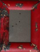 bois marqueterie personnages cadre photo rouge zen asie : CADRE PHOTO 5