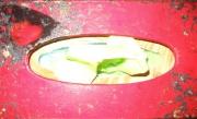 bois marqueterie personnages asie boite enfant rouge : boite a mouchoirs