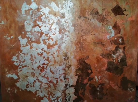 PAINTING Abstrait Tableau Toile abstraite Feuille d or argent Abstrait Acrylique  - Abstrait or argent