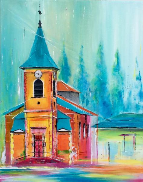 TABLEAU PEINTURE Eglise marbache lorraine meurthe et moselle Villes Acrylique  - L eglise de Marbache en couleur