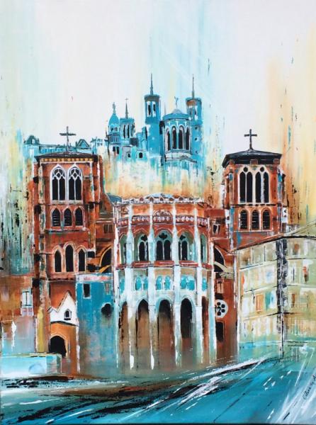 TABLEAU PEINTURE France lyon monument Cathedrale Architecture Acrylique  - Cathédrale et basilique lyon