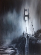 tableau architecture mer pont lumiere : de nuit