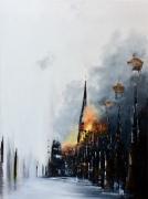 tableau villes paris notredame cathedrale gilet jaune : Les brasiers