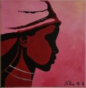tableau personnages femme visage afrique : profil femme