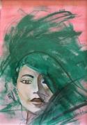 tableau personnages visage femme : effacée