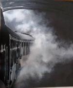 tableau autres train brume tunnel : Train dans la brume
