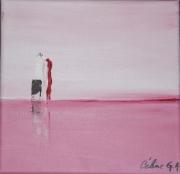 tableau abstrait abstrait rose : immeubles