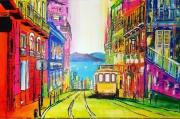 tableau villes lisbonne tramway mer : lisbonne