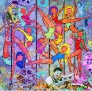 tableau personnages dance chaplin colorful modern : Pole dance et Modern time
