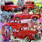 tableau autres pickup cars rhin : Red pickup trucks and rhinoceros