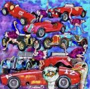art numerique sport rallye car's autruches : Autruches et voitures de rallye