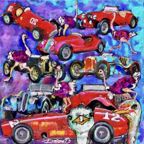 ART NUMéRIQUE rallye car's autruches Sport  - Autruches et voitures de rallye