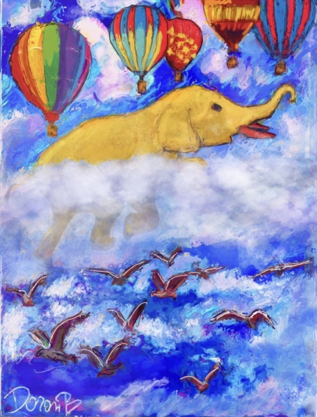 ART NUMéRIQUE éléphant jaune yellow nuages Animaux  - Éléphant dans les nuages