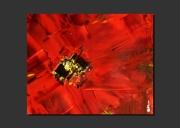 tableau abstrait coquelicot fleur rouge zoom : LE NEZ DANS LE COQUELICOT
