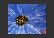 tableau abstrait bleuet fleur bleu zoom : DU BLEUET DANS LES NARINES