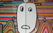 tableau abstrait le personnage blanc le paradis dieu les petits enfants : Le monde de picola