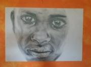 tableau personnages enfant africain crayon : enfant
