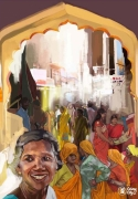 tableau villes inde art tableau randy dims : Vendredi 14h, Johri Bazaar, Jaipur