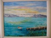 tableau marine lac bateau montagne : Sur le Lac
