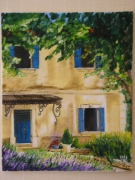tableau architecture maison facade provence : les volets bleu