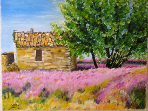 TABLEAU PEINTURE cabanon provence lavande Paysages Peinture a l'huile  - Le Cabanon