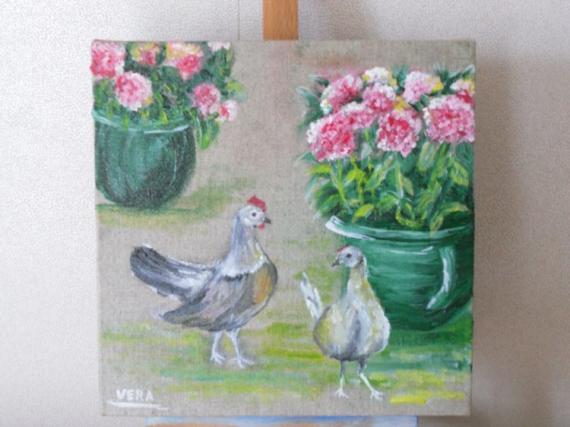 TABLEAU PEINTURE poules poulettes fleurs Animaux Peinture a l'huile  - les poulettes