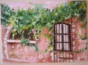 tableau architecture provence fenetre murs : derrière la fenêtre