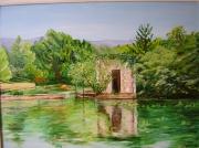 tableau paysages vaucluse fontaine : fontaine de vaucluse