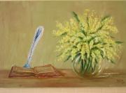 tableau fleurs mimosa : mimosa et poète
