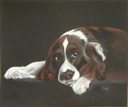 tableau animaux amour tendresse chien : EN ATTENDANT MON MAITRE