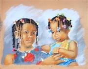 tableau personnages enfants exotisme tendresse : ENFANTS DE LA REPUBLIQUE DOMINICAINE