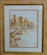 tableau paysages camaieu chateau mer : CHATEAU DE LA NAPOULE (06)