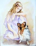 tableau scene de genre aquarelle tendresse animaux : TENDRESSE