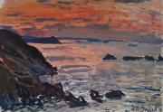 tableau paysages : Ciel rouge et falaise au loin