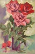 tableau fleurs rose rouge fleurs vase de roses : ROSE