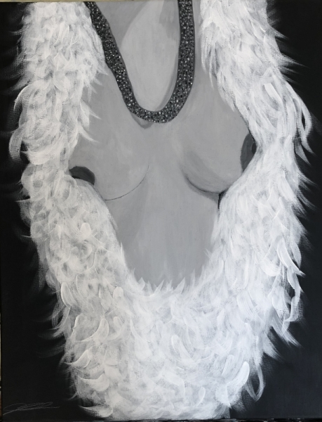 TABLEAU PEINTURE Nus Buste Femme Plume Nus Acrylique  - Buste dénudé