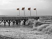 photo paysages tempetes mer paysages : La tempête Eleanor sur l'estacade de Sainte-Adresse