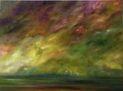 tableau marine ocean ciel nuages terre contemporain : TERRA INCOGNITA