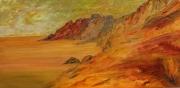 tableau marine orange brun cote ouest paysage ocean : FEELING