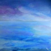 tableau marine paysage abstrait ocean ciel nuages contemporain : ILLUSION
