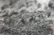 dessin marine vague ecume galets : Vagues