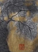 dessin paysages encre arbre or : Arbre 1